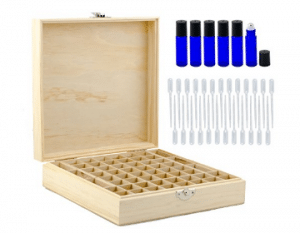 Wooden Essential Oil Box w/ 6 10ml Cobalt Blue Rollon Bottles and 25 Pipettes