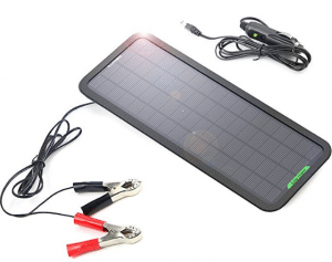 ALLPOWERS 18V 5W Portable Solar Car Battery Charger Bundle with Cigarette Lighter Plug