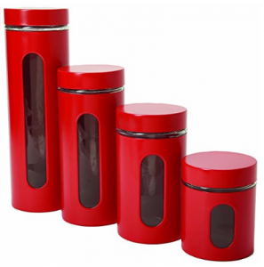 Anchor Hocking Palladian Glass and Stainless Steel Canister Set with Airtight Lids