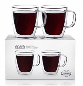 Eparé Insulated Coffee Cups Set (12 oz, 350 ml) – Double Wall Tumbler Glass Cup – Mug for Drinking Tea