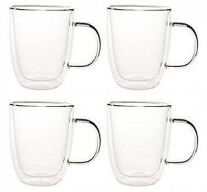 Set of 4 Double Walled Glass Coffee Mugs - Double Walled Coffee Cups