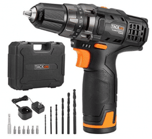 Tacklife 12V Lithium-Ion Cordless Drill/Driver Set - PCD01B 3/8-inch All-Metal Chuck 2-Speed Max Torque 239 In-lbs 19+1 Position with LED