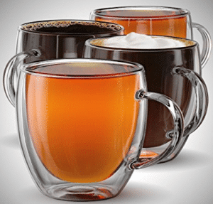 Anchor & Mill Double Walled Insulated Glass Coffee Mugs or Tea Cups for Espresso