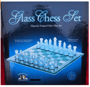 Excalibur Glass Chess Set Eight 11 X 11""