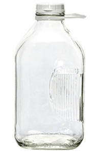 The Dairy Shoppe 2 Qt Heavy Glass Milk Bottle with Handle & Cap, 64 oz