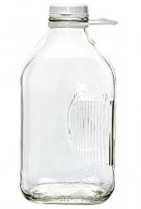 The Dairy Shoppe 2 Qt Heavy Glass Milk Bottle with Handle & Cap, 64 oz