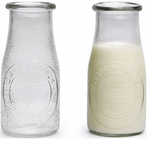 Circleware Hammered Glass Milk Bottles/Drinking Glasses
