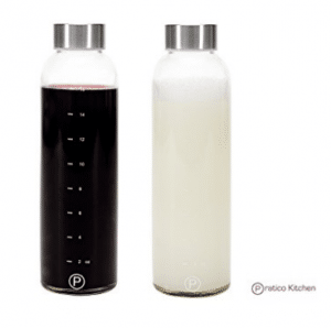 Pratico Kitchen 18oz Leak-Proof Glass Bottles, Juicing Containers