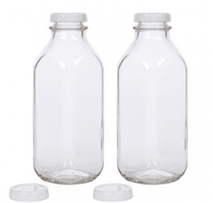 Glass Milk Bottle with Extra Lids - Set of 2 - USA Made 33.8 Oz Jug