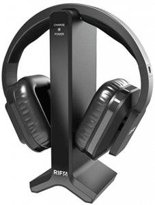 RIF6 Wireless TV Headphones 2.0 Over Ear Cordless Headphone with RF Transmitter