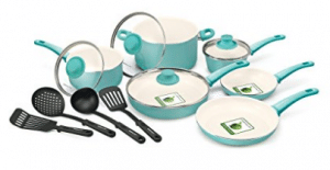 GreenLife CW000531-002 Soft Grip 14pc Ceramic Non-Stick Cookware Set