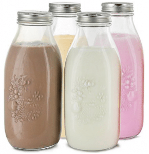 Estilo Dairy Reusable Glass Milk Bottles with Metal Lids (Set of 4), 33.8 oz