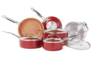 Red Copper 10 PC Copper-Infused Ceramic Non-Stick Cookware Set by BulbHead
