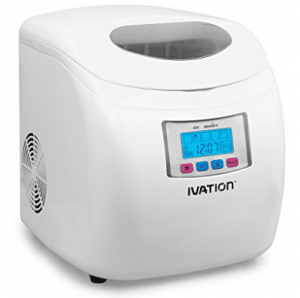 Ivation IVA-ICEM25WH Portable Ice Maker with LCD Display, White