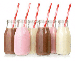 Set of 12 - 11 Ounce Glass Milk Bottles with Retro Straws and Metal Twist Lids