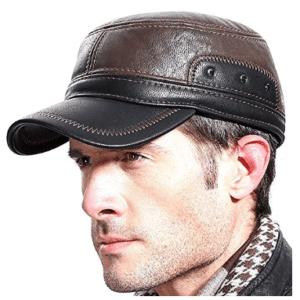 Molodo Men Winter Leather Fur Baseball newsboy Cap Ear Flap Trapper Hunting Hat