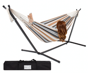Best Choice Products Double Hammock With Space Saving Steel Stand Includes Portable Carrying Case