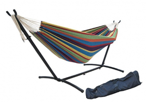 SueSport Double Hammock with Space Saving Steel Stand Includes Portable Carrying Case