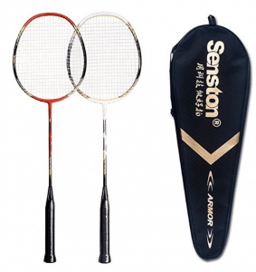 Senston 2 Player Badminton Racquets Set Double Rackets Carbon Shaft Racquets Set- 1