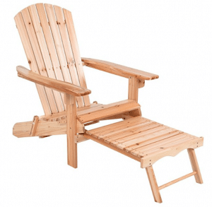 Giantex Foldable Adirondack Wood Chair With Pull-Out Footrest Patio Deck Outdoor
