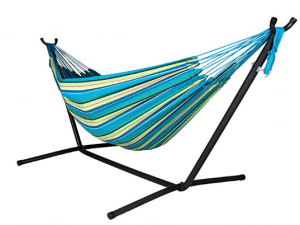 Lazy Daze Hammocks Double Hammock with Space Saving Steel Stand Includes Portable