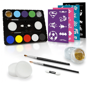 Create A Face Painting Set + Stencils (Black Tie Edition, 47-Piece)