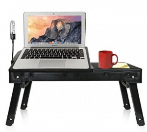 DG Sports Multi-Functional Laptop Table Stand with Internal Cooling Fan and Built-In LED Light, Black
