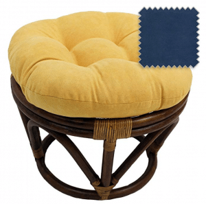 8-Inch Bali Rattan Papasan Footstool with Cushion