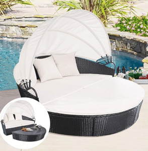TANGKULA Patio Furniture Outdoor Papasan Chairs with Cushions