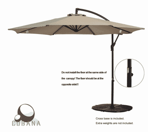 COBANA 10 Ft Patio Umbrella Offset Hanging Umbrella Outdoor Market Umbrella Garden Umbrella