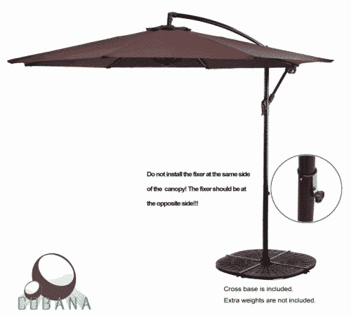 COBANA 10' Cantilever Freestanding Patio Umbrella Hanging Outdoor Umbrella with Crank
