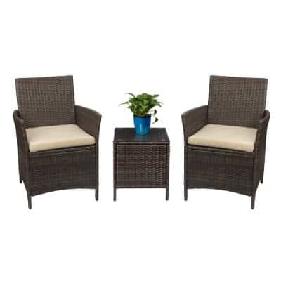 Devoko Patio Porch Furniture Set 3 Piece PE Rattan Wicker Chairs Beige Cushion