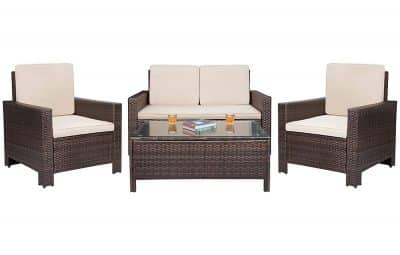 Patio Furniture Sets Clearance 4 PC Wicker Outdoor Sofa Set