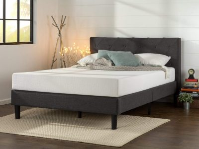 Zinus Upholstered Diamond Stitched Platform Bed