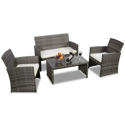 Goplus 4 PC Rattan Patio Furniture Set Garden Lawn Pool