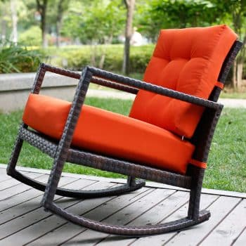 Merax Cushioned Rattan Rocker Armchair Outdoor Patio Wicker Rocking Chair