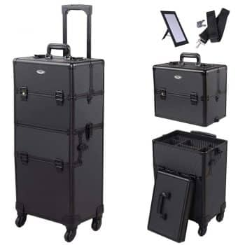 AW 2in1 4 Wheel Pro Aluminum Rolling Makeup Cosmetic Train Case Lockable Wheeled Box