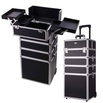 AW 4 in1 Rolling Makeup Artist Train Case Lockable Trolley Cosmetic Travel Box