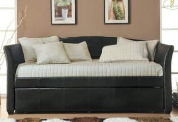 Homelegance Meyer Faux Leather Upholstered Trundle Daybed
