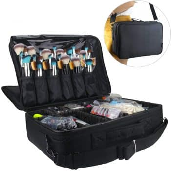 Professional Makeup Train Case Cosmetic Organizer Make Up Artist Box 2 Layer Large Size with Adjustable Shoulder