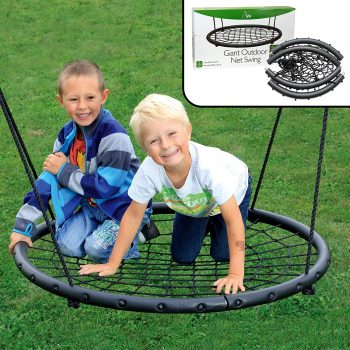 "Tree Net Swing- Giant 40"" Wide Two Person Outdoor Web Rope Swing Set"