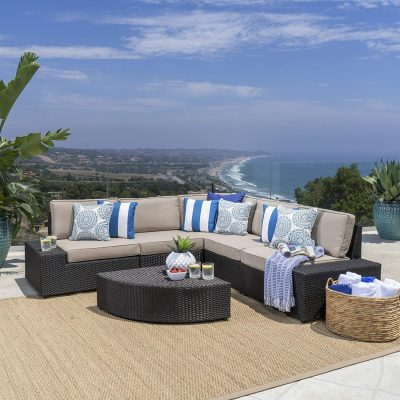 Great Deal Furniture | Reddington | Outdoor Patio Furniture 6-Piece Sectional Sofa Set
