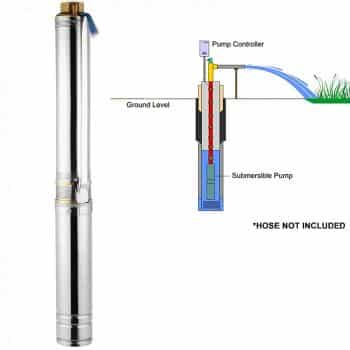 OrangeA Deep Well Submersible Pump 1/2 HP 150ft Deep Well Pump 25GPM Stainless Steel Deep Well Pump