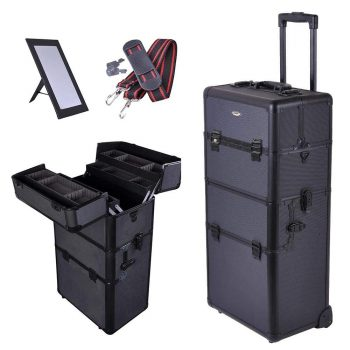 "AW 2in1 Black 38"" Makeup Aluminum Rolling Cosmetic Train Case Hair Style Lockable Box"