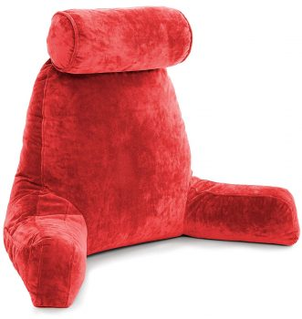 Husband Pillow - Red, Big Reading & Bed Rest Pillow with Arms