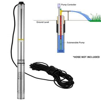 VEVOR Deep Well Pump 400ft 2HP Stainless Steel Underwater Bore Submersible Pump