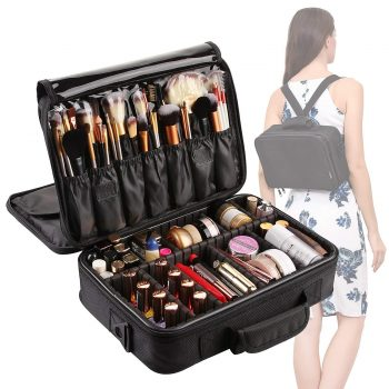 VASKER 3 Layers Waterproof Makeup Bag Travel Cosmetic Case Brush Holder with Adjustable Divider
