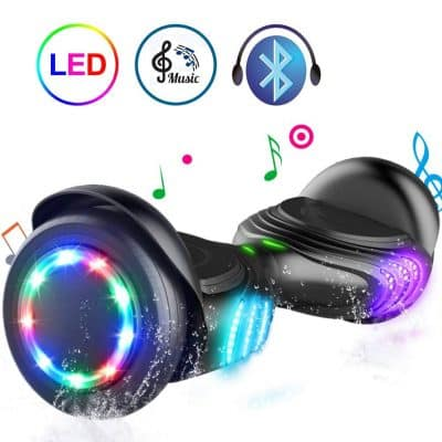 TOMOLOO Hoverboard with Bluetooth and LED Lights Two-Wheel Self Balancing Scooter