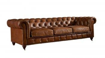 Crafters and Weavers Top Grain Vintage Leather Chesterfield Sofa