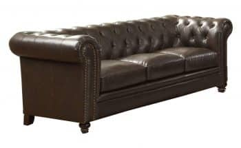 Roy Button-Tufted Sofa with Rolled Back and Arms Brown